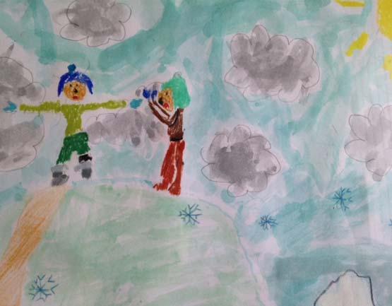 dessin d'enfant représentant le conte Le premier Inushuk. Organisé par la galerie inuit nunamit