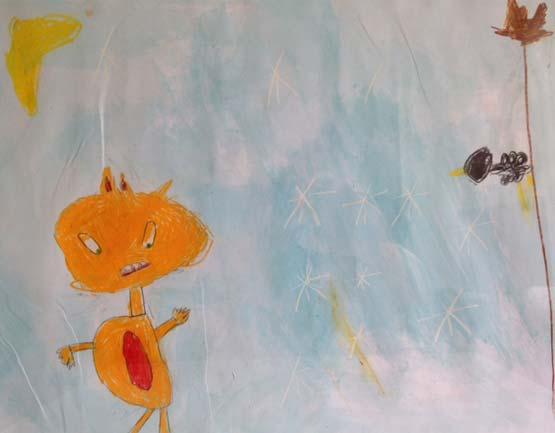 dessin d'enfant représentant le conte le jour et la nuit. Organisé par la galerie inuit nunamit