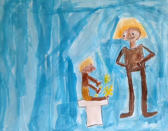 dessin d'enfant représentant le conte Kagsaksuk et l'homme lune. Organisé par la galerie inuit nunamit