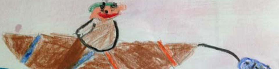 dessin d'enfant représentant l'univers arctique. Organisé par la galerie inuit nunamit
